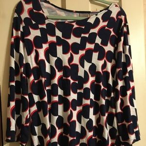 Chico's Easycare Navy, white&red top. Size 2-L/XL